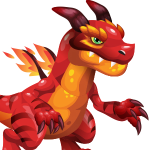 An image of the firesaur Monster in youth form