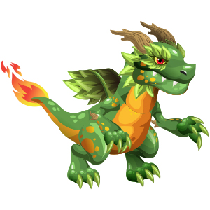 An image of the greenasaur Monster in youth form